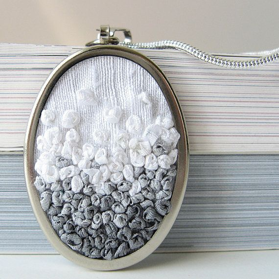 ribbon embroidery pendant (I think I can adapt it to be a pillow for my fainting couch)