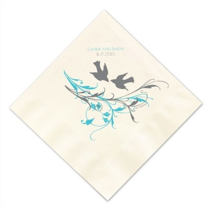 Love Birds Design Personalized Napkins