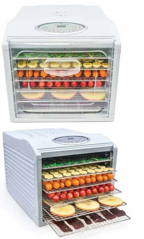 The Aroma Nutriwave Food Dehydrator NFD-815D comes with 6 stainless steel trays and will dehydrate any foods you want dried. The body and clear door are BPA free. Check it out and purchase one from VeggieSensaitons.com. http://www.veggiesensations.com/products/aroma-nutriware-6-tray-digital-control-food-dehydrator-white