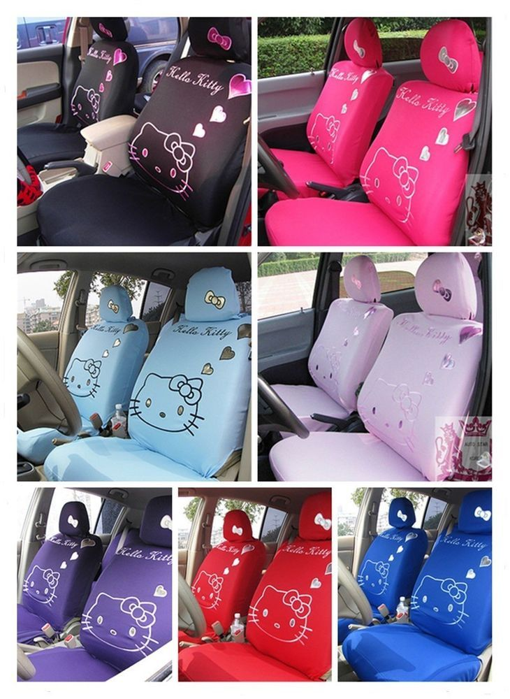 10 PCs Pink Hello Kitty UNIVERSAL Car Seat Covers 7 Colors Available Black Red