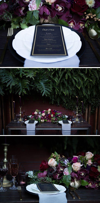 Moody jewel tone wedding reception styling | Lola Images