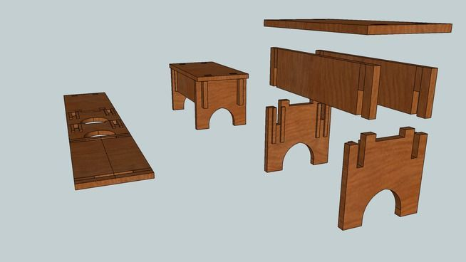 Large preview of 3D Model of Medieval bench 2 (Collapsable)