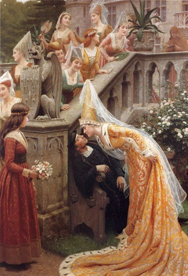 Alain Chartier by Edmund Blair Leighton - Alain Chartier was a French poet - this depicts the story of a famous kiss bestowed to him by Margaret of Scotland