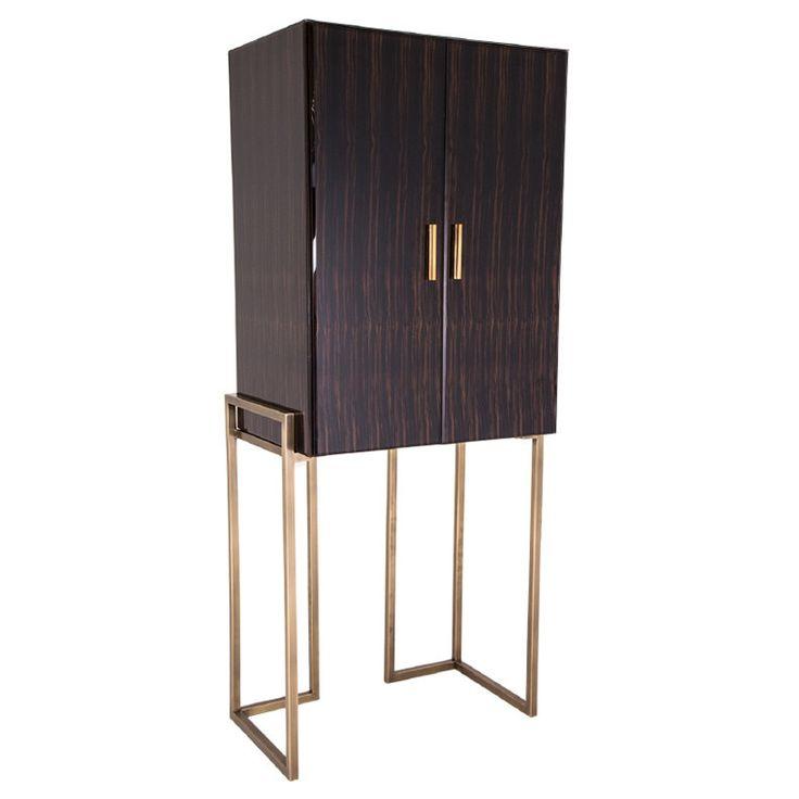 The Metropolitan Gold & Dark Wood Cabinet