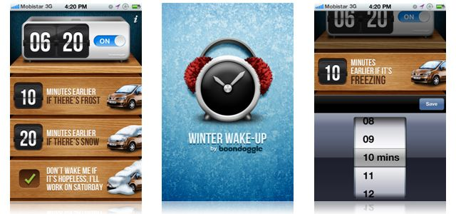 Winter Wake-Up is a new mobile app which wakes users earlier than usual if there has been unexpected snow or icy conditions during the night.