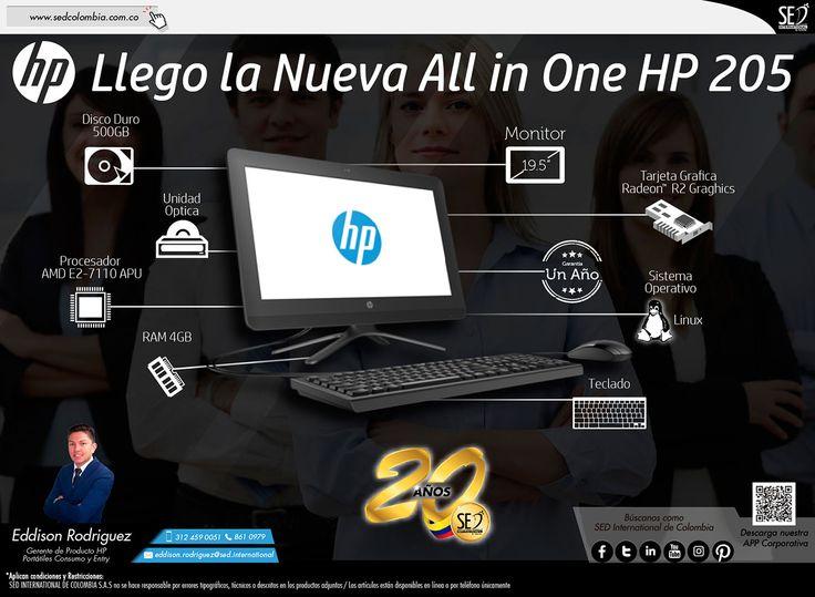 Llego la Nueva All in One HP 205: Contacta a tu gerente de producto para más información: Eddison Rodriguez Celular: 312 459-0051 Email: eddison.rodriguez@sed.international #HP #SEDColombia