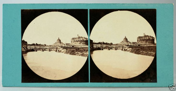 Stereograph of the Tiber River and Castel Sant'Angelo, Rome.