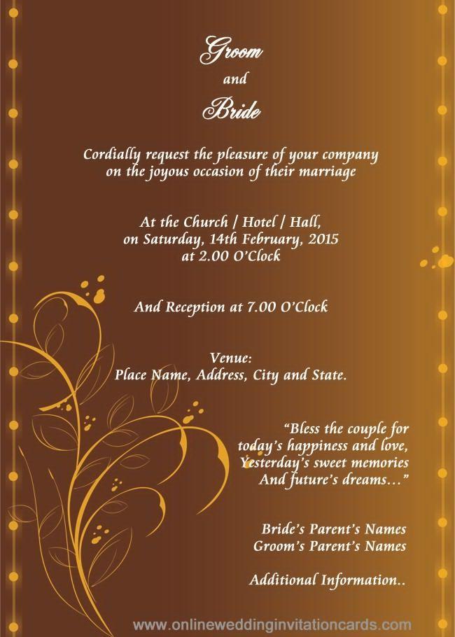 Hindu Wedding Invitation Templates Marriage Invitation Card Marriage Invitation Card Format Hindu Wedding Invitation Cards