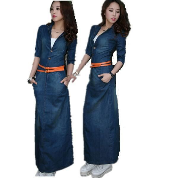 2017 New Ankle Length Jean Dress Casual Cardigan Jeans Half Long Sleeve Denim Dresses