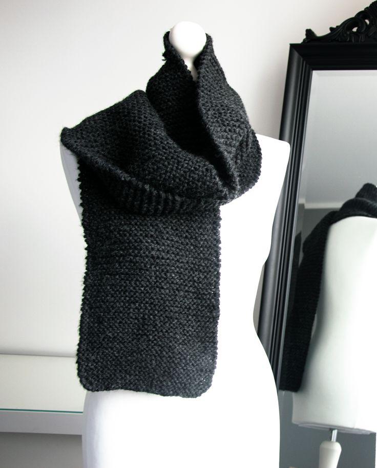 Wełnany szal dziergany ściegiem francuskim.  #knitting #handmade