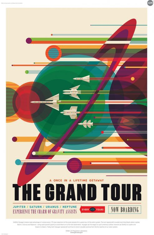 14 retro space travel posters from NASA's Jet Propulsion Laboratory — download free!