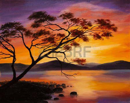 Olejomalba - západ slunce na jezeře, abstraktní umění photo
