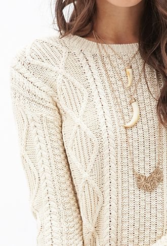 Slouchy Cable Knit Sweater | FOREVER 21 - 2000120693