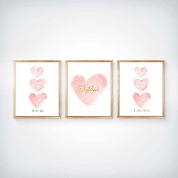 Blush Nursery Pink and Gold Nursery Set of 3 by OutsideInArtStudio
