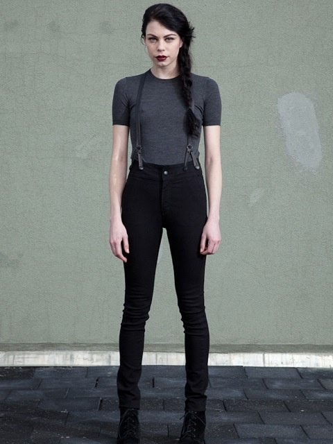 JAMES / SUPER HIGH WAIST SKINNY JEANS WITH LEATHER SUSPENDERS / ASPEN BLACK…