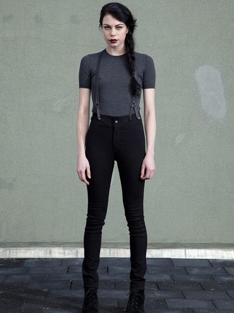 Suspender pants!! + t-shirt + boots + hair. Black.