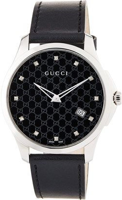 Gucci 40mm G-Timeless Round Watch w/ Leather Strap Black #watches #womens