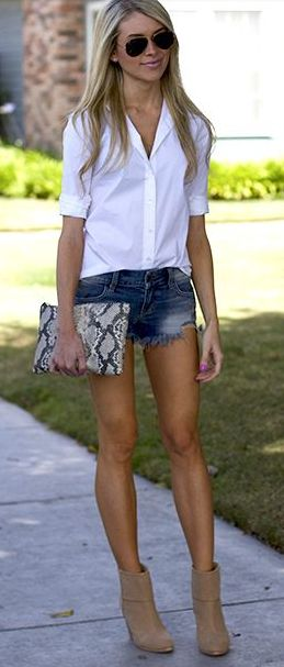 Cut offs + booties + button up.