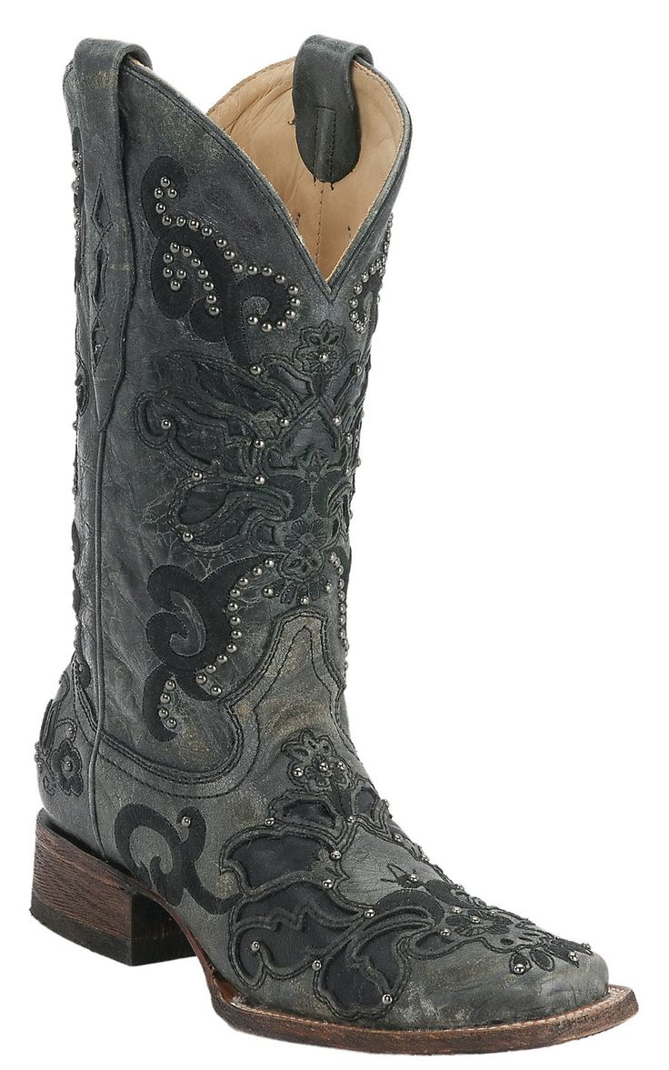 Corral® Ladies Black Crater Overlay with Studs Square Toe Cowboy Boots