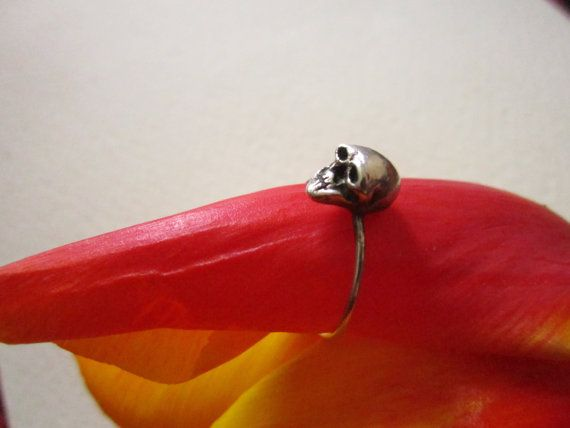 La petite mort darkened silver skull ring by MoonSerpentJewelry, $30.00