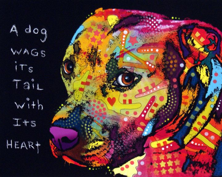 "Gratitude-Dean Russo ""A dog wags its tail with its heart""."