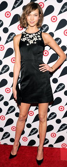 This ain't your average LBD! The stars on Karlie Kloss' frock look fresh and fun.