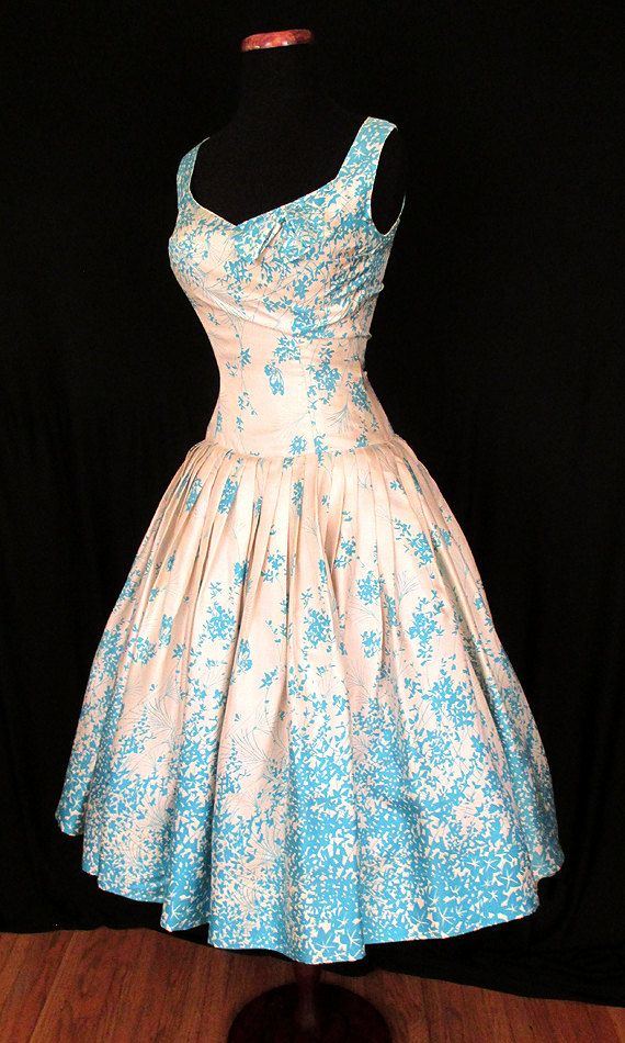 Gorgeous 1950's Silk Floral Print Drop Waist New by wearitagain