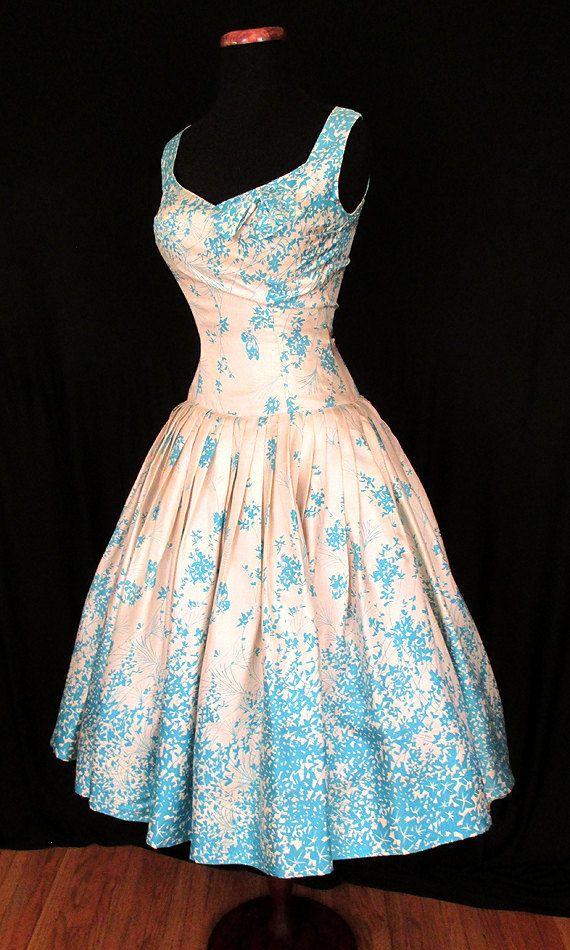 Gorgeous 1950's Silk Floral Print Drop Waist New by wearitagain