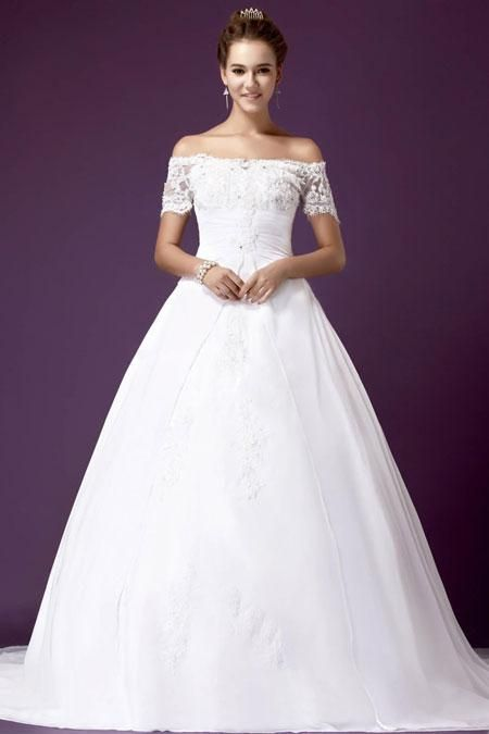 (CLICK IMAGE TWICE FOR DETAILS AND PRICING) Beautiful Ball Gown Off-Shoulder Chapel Train Satin and Lace Wedding Dress WBG08542-TB - See More Off-shoulder Womens Dresses at http://www.zbrands.com/Off-shoulder-Womens-Dresses-C55.aspx