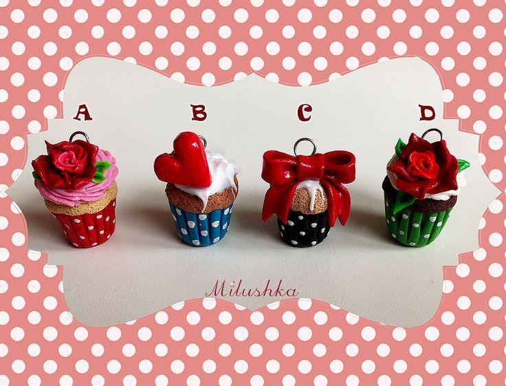 Rose Bow Heart - Polka dot Cupcake Pendant Necklace, Rockabilly Rockabella Pin Up Mid Century Retro Style, Rockabilly Cupcakes by Milushka by Milushka on Etsy
