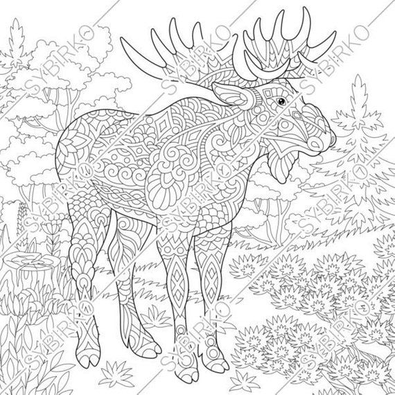 Coloring Pages Moose Deer In Forest Animal Coloring Book Etsy Animal Coloring Books Animal Coloring Pages Coloring Pages