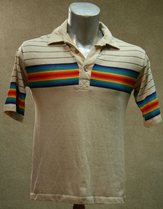 40c323e6be Vintage 70s LEVIS Rainbow Striped Polo Shirt Medium | top secret | Striped  polo shirt, Shirts, Mens tops