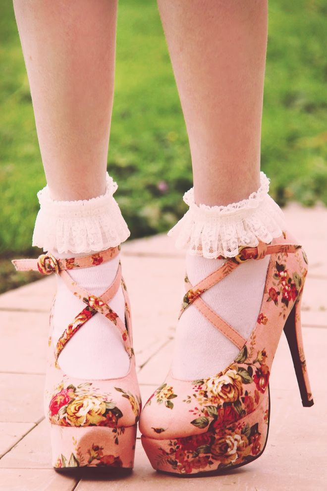 Cute frilly socks paired with pink floral heels for a truly girly look