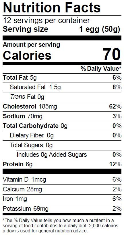 Large Egg Regular Panel (The Nutrition Fact Panel formats are for consumer use only.  Members of the egg industry should refer to the Code of Federal Regulations for acceptable formats.)