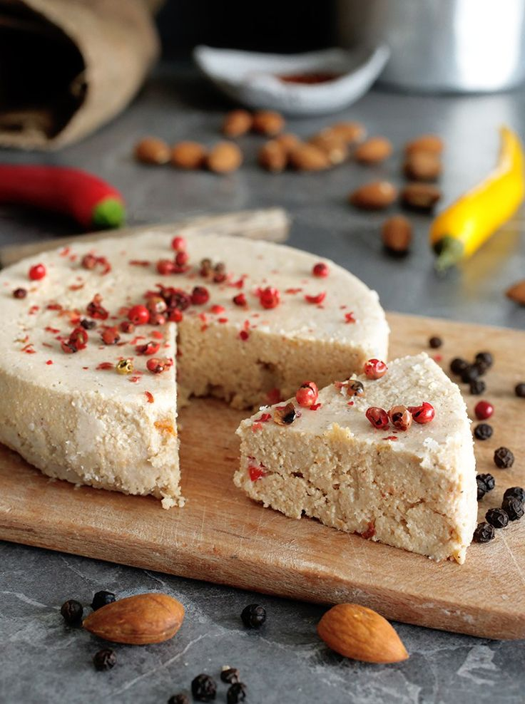 Vegan chili almond cheese that's creamy, tangy, slightly spicy and a little bit smoky. It makes a great snack with crackers or dried fruits.