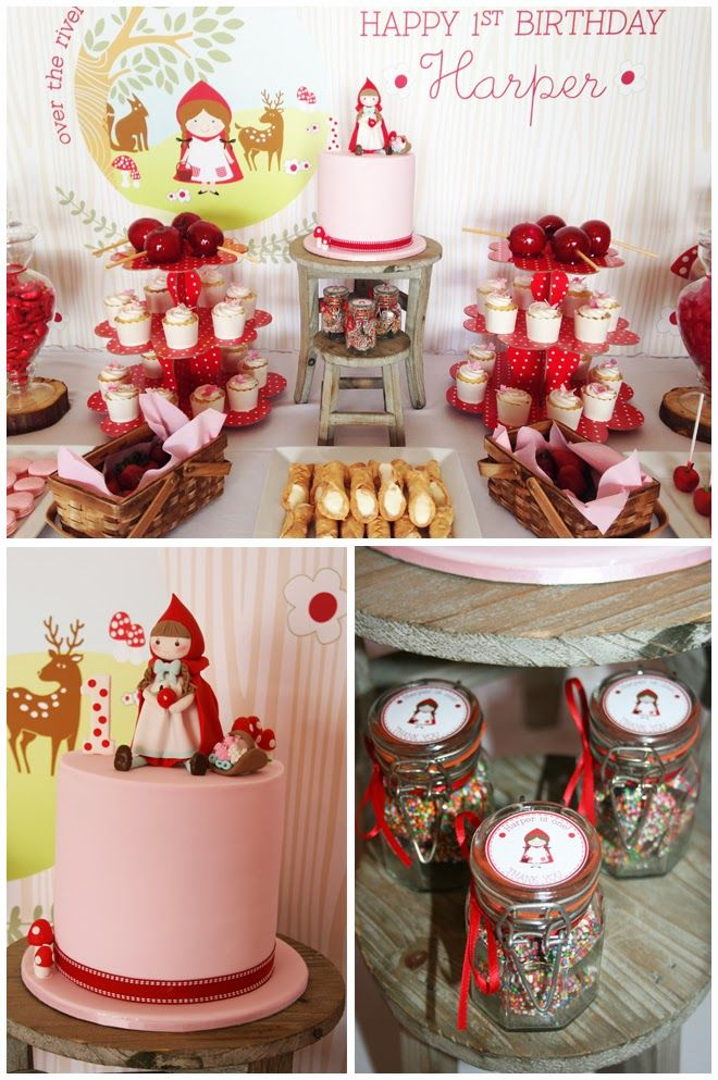 Little Red riding hood birthday party dessert table. Printables by Green Beansie Ink on Etsy www.greenbeansieink.com