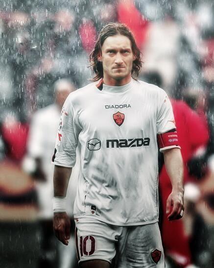 Totti amids the rain drops