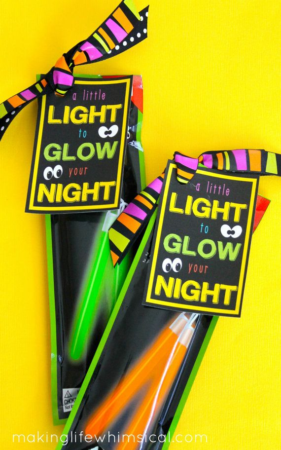 INSTANT DOWNLOAD-Halloween Neon Glowstick Printable Tag