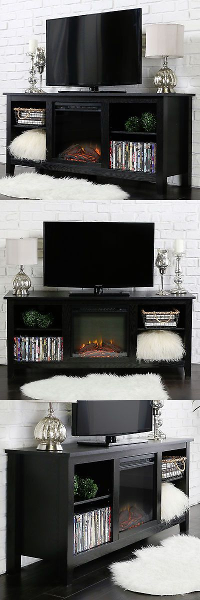 Entertainment Units TV Stands: New 58 Inch Tv Stand With Fireplace Insert In Black Finish -> BUY IT NOW ONLY: $249 on eBay!