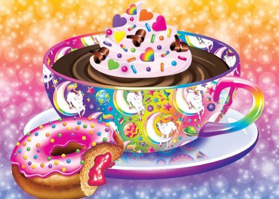 Lisa Frank coffee and donut!