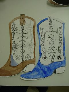Cowboy Boots - 4th Grade Math integration with symmetry... could do it with printing for younger grades.