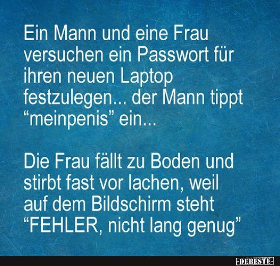 Ein Mann und eine Frau versuchen ein Passwort für ihren neuen Laptop..   Lustig…