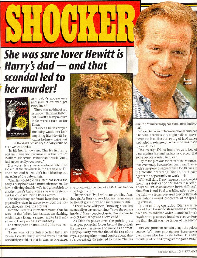 """DIANA - UNLAWFUL KILLING: The National Examiner :""""Princess Diana Believed Her Lover James Hewitt Was The Father Of Prince Harry"""