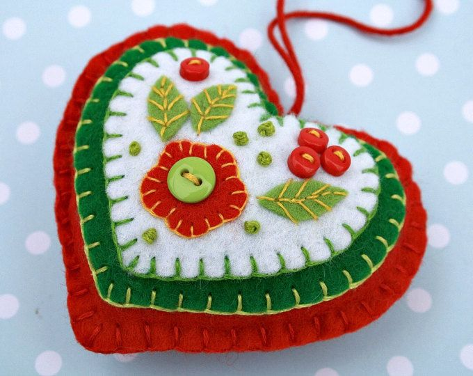 Felt hanging heart ornament, hand stitched with layers of applique and embroidery in blues and white, embellished with tiny buttons.  9cm x 8cm approx, with a ribbon loop for hanging.  Please choose the ornament with either blue or white central heart, from the drop-down menu.  Review by Sue Ann; The stitching on these ornaments is exquisite. I bought two to give as a gift and I cant bear to give them away. Beautiful work and excellent customer service!