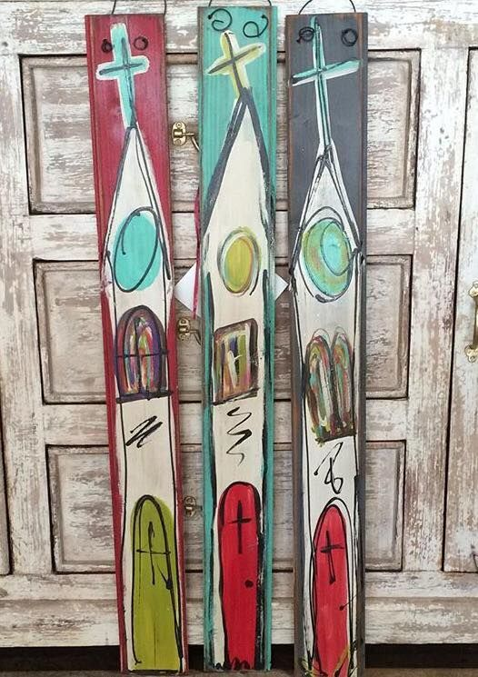 Hand painted wood skinny churches $25 cute little happy for house warming!