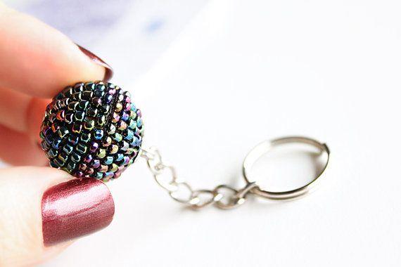 Beaded Keychain Keyring. Multicolour Metallic by PetalsDesignAU