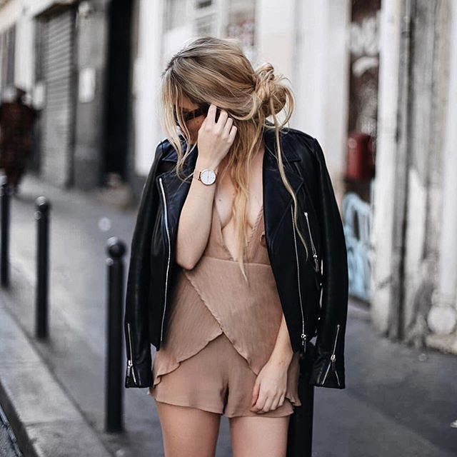Chic street snap by @allineedisclothes who is wearing this brown plunge-neck belted romper. #chic #lbsdaily #lookbookstoredaily #lookbookstore