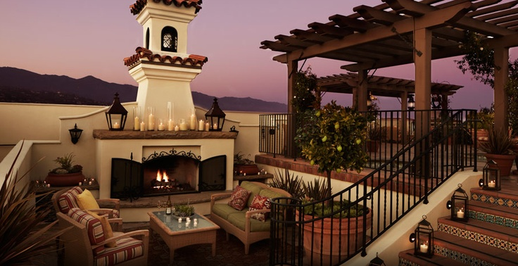 Outdoor fireplace at Canary Hotel Santa Barbara #kimpton. rooftop pool and lounge! Santa Barbara has it all. Warm sun, the Pacific Ocean, a mountain backdrop, and full-on city life.