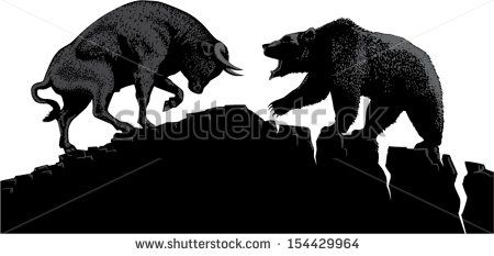 Bull and bear, symbols of stock market trends. Vector illustration with elements…