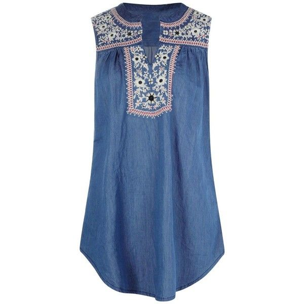 Boohoo Cindy Embroidered Denim Smock Top ($36) ❤ liked on Polyvore featuring tops, polka dot crop top, cami crop top, off shoulder denim top, bralette crop top and bralet tops